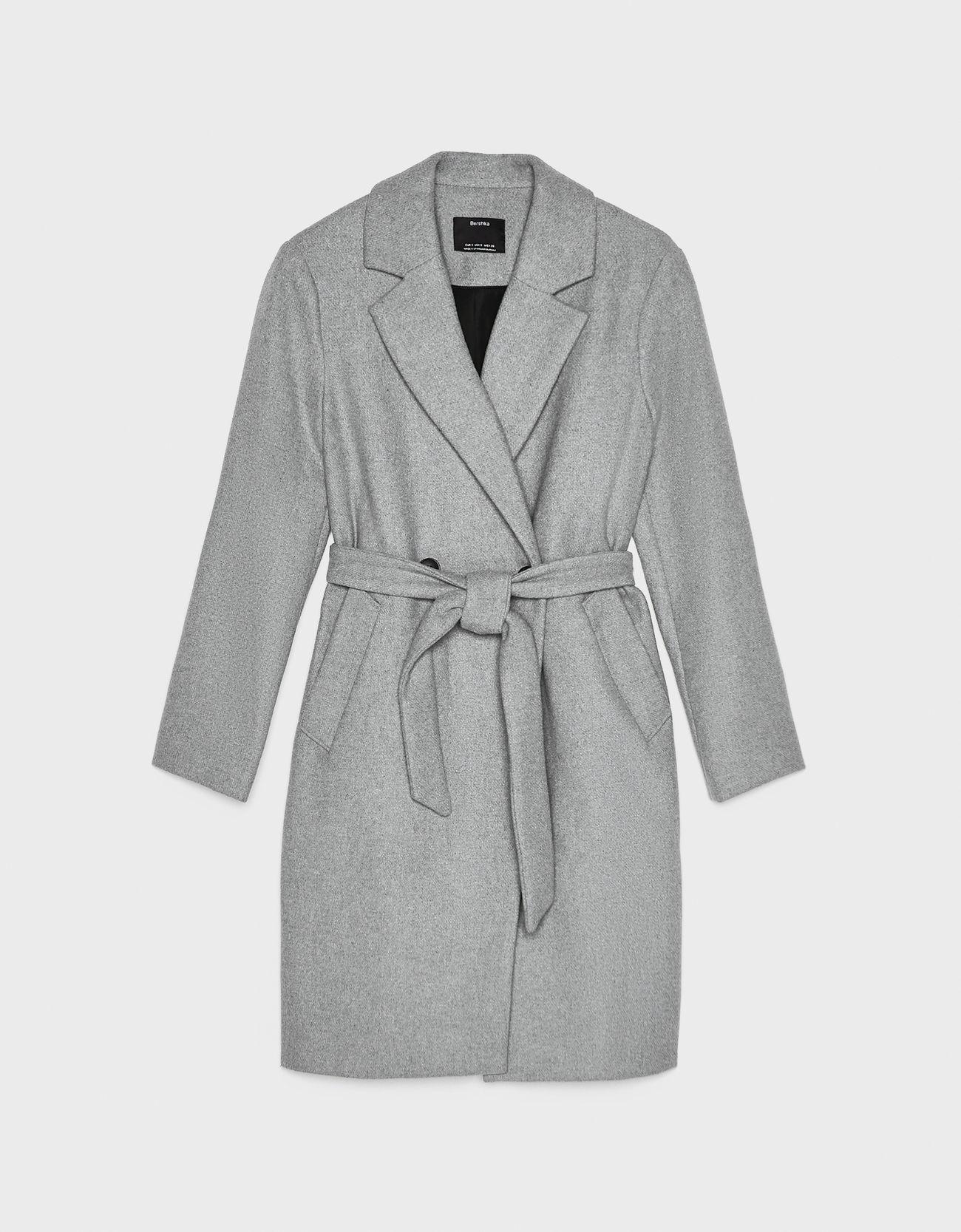 Пальто из шерстяной ткани с поясом Серый Bershka