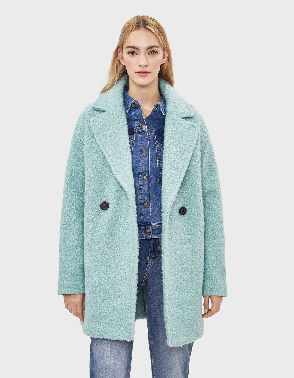 Faux shearling oversize coat