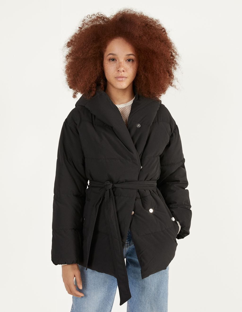 Puffer coat with belt