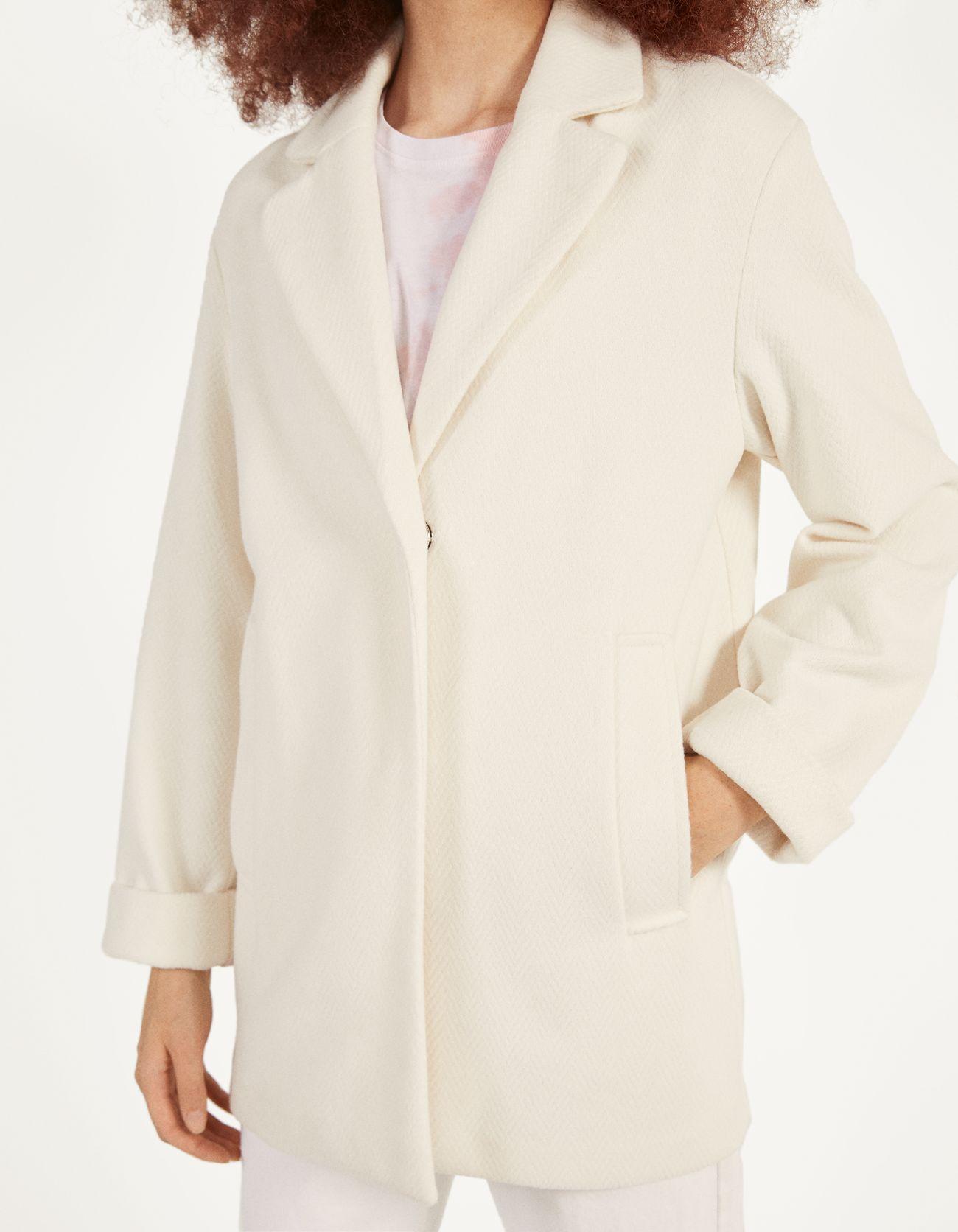 Пальто в мужском стиле Бежевый Bershka