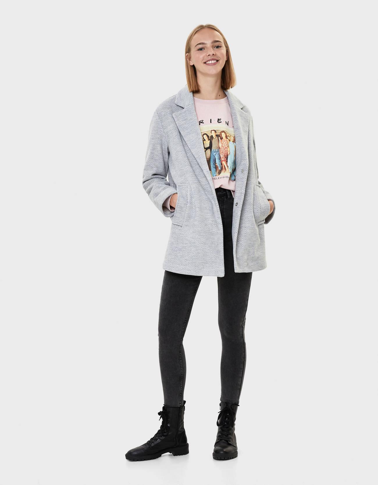 Пальто в мужском стиле Серый Bershka
