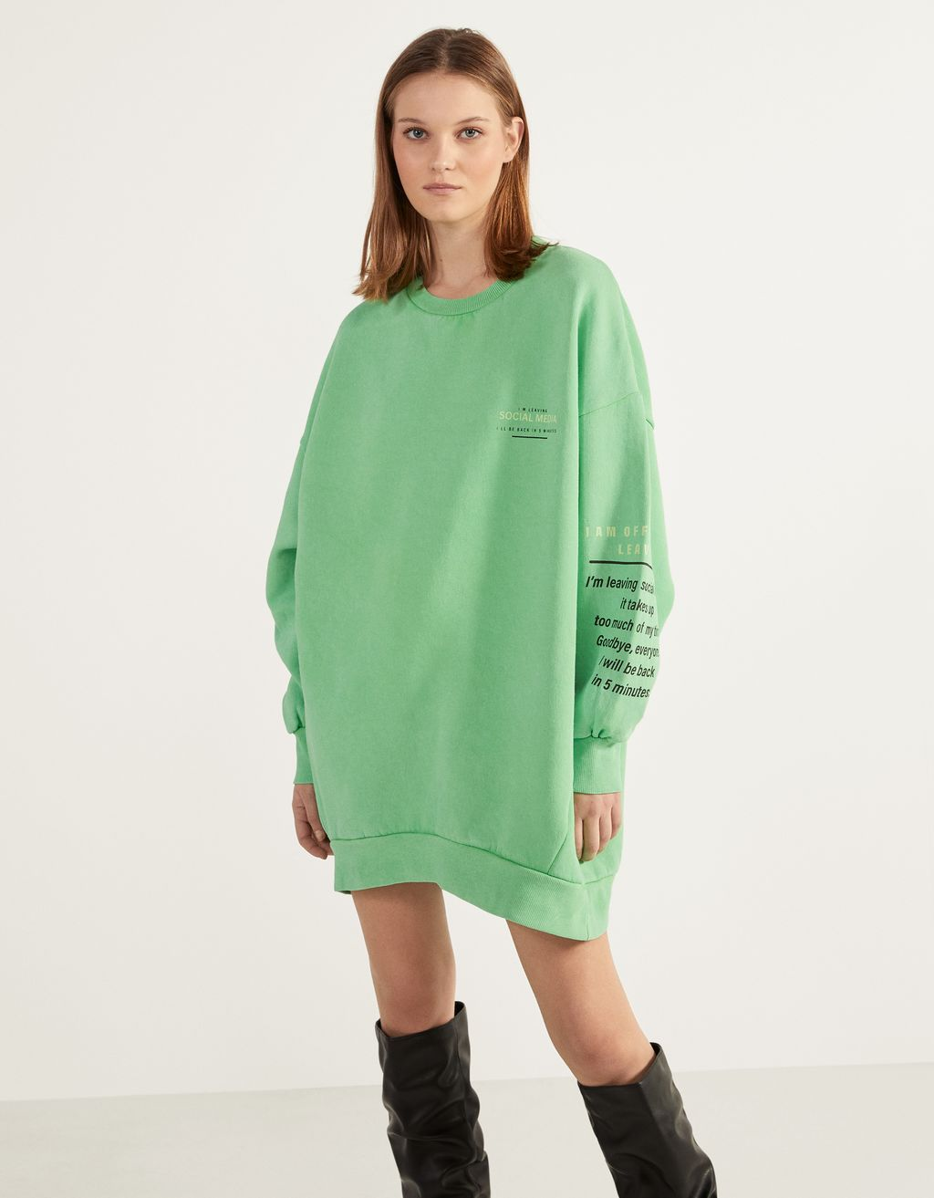 Faded-effect sweatshirt with print