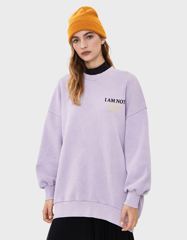 Sweatshirt im Washed-Look mit Print