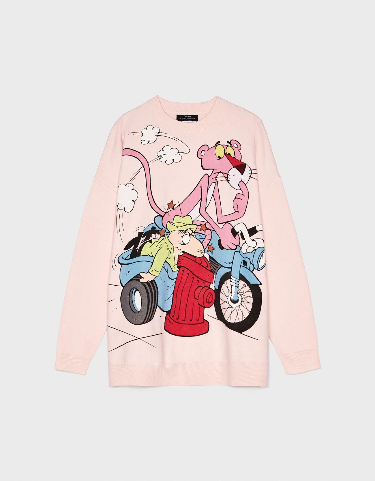 Свитер «Розовая пантера» Розовый Bershka