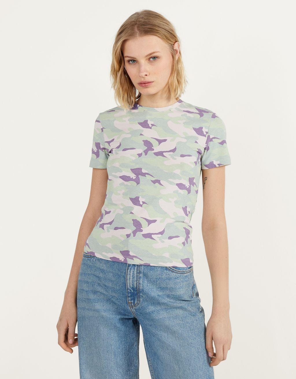 T-shirt med rund hals