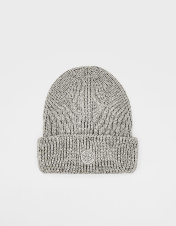 リブ編みビーニー帽