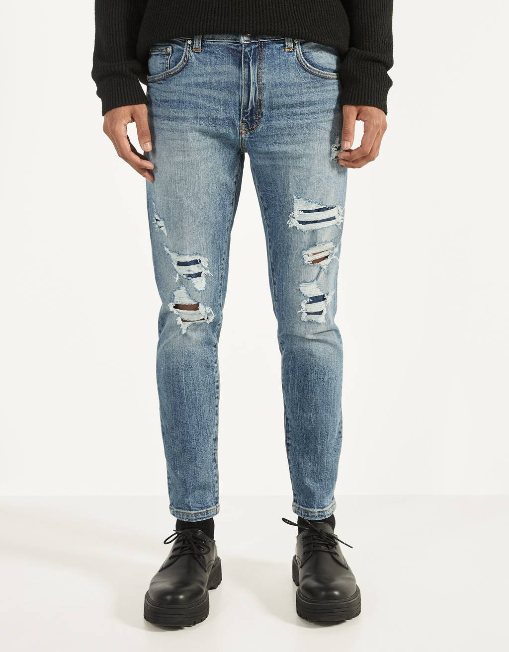 Skinny fit jeans met patches