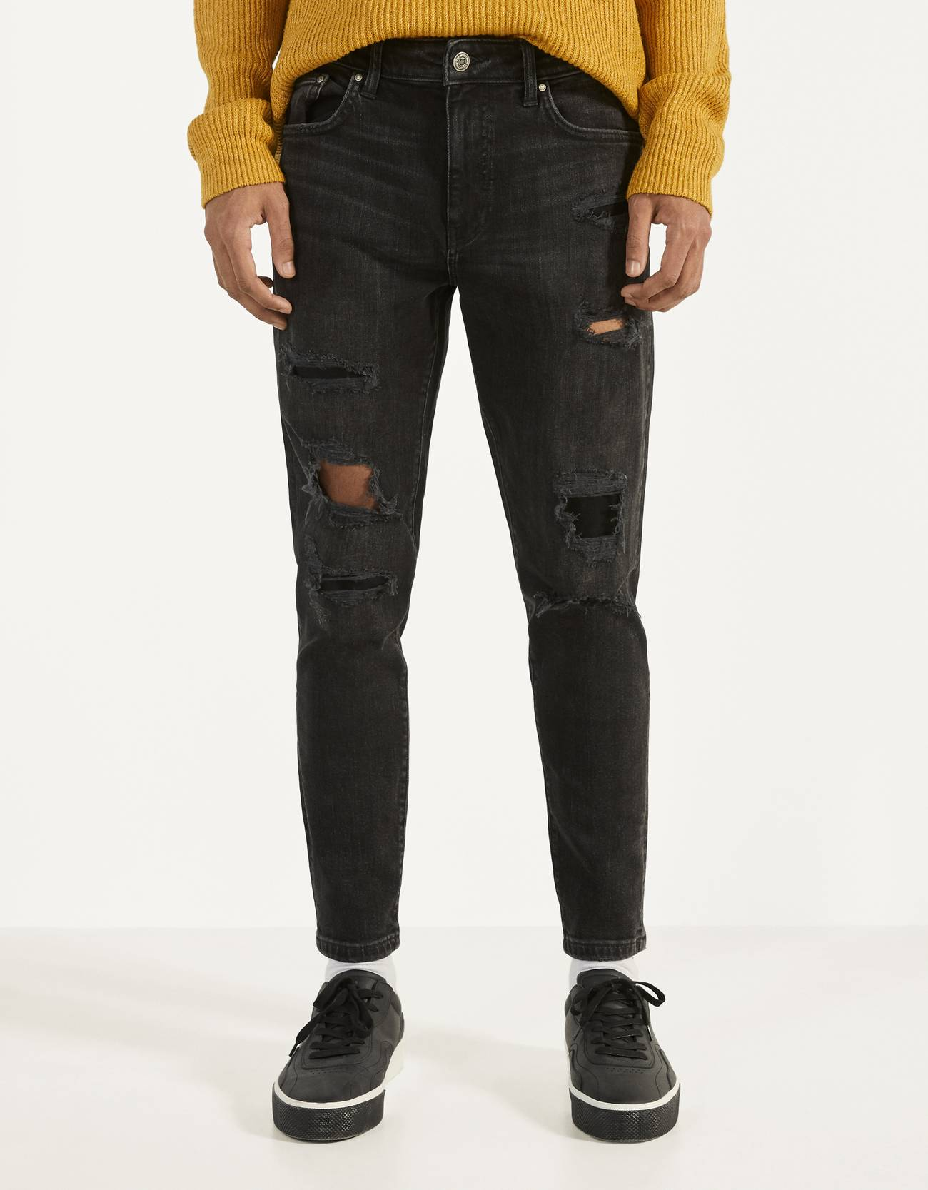 Skinny fit jeans with patches