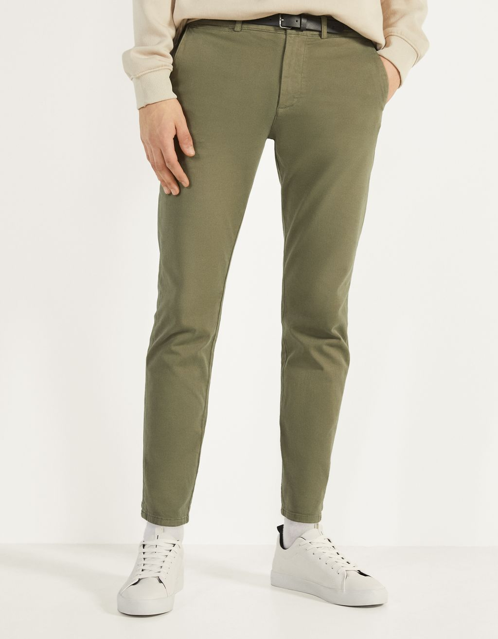 Slim Fit chino trousers with belt