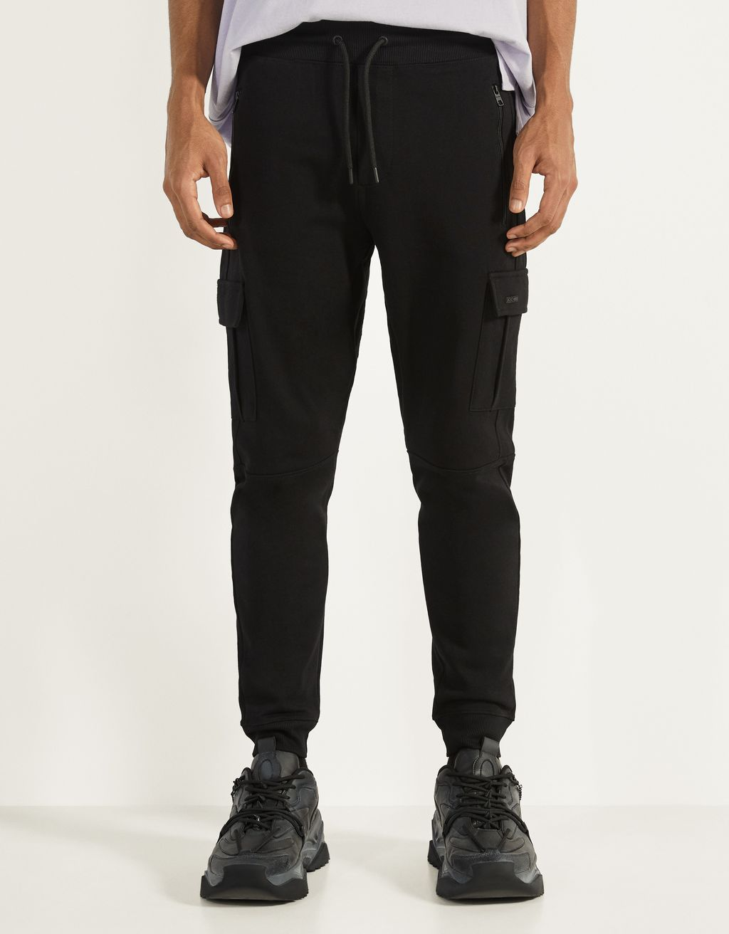 Plush cargo jogging trousers
