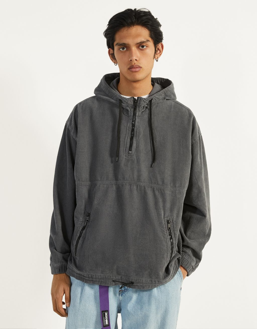 Hooded corduroy sweatshirt