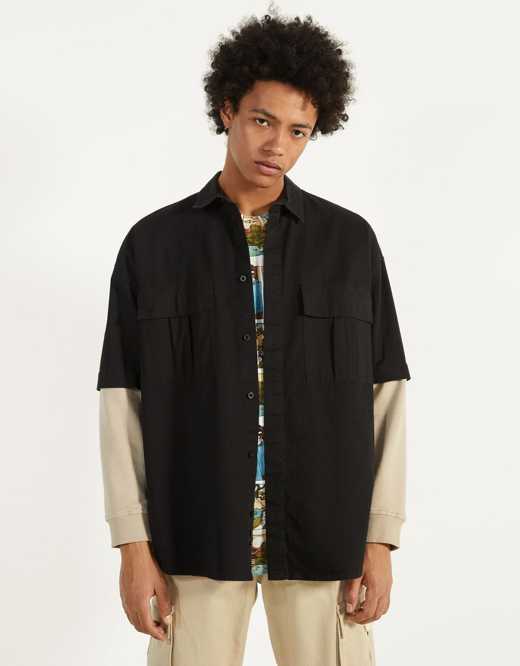 Two-tone overshirt