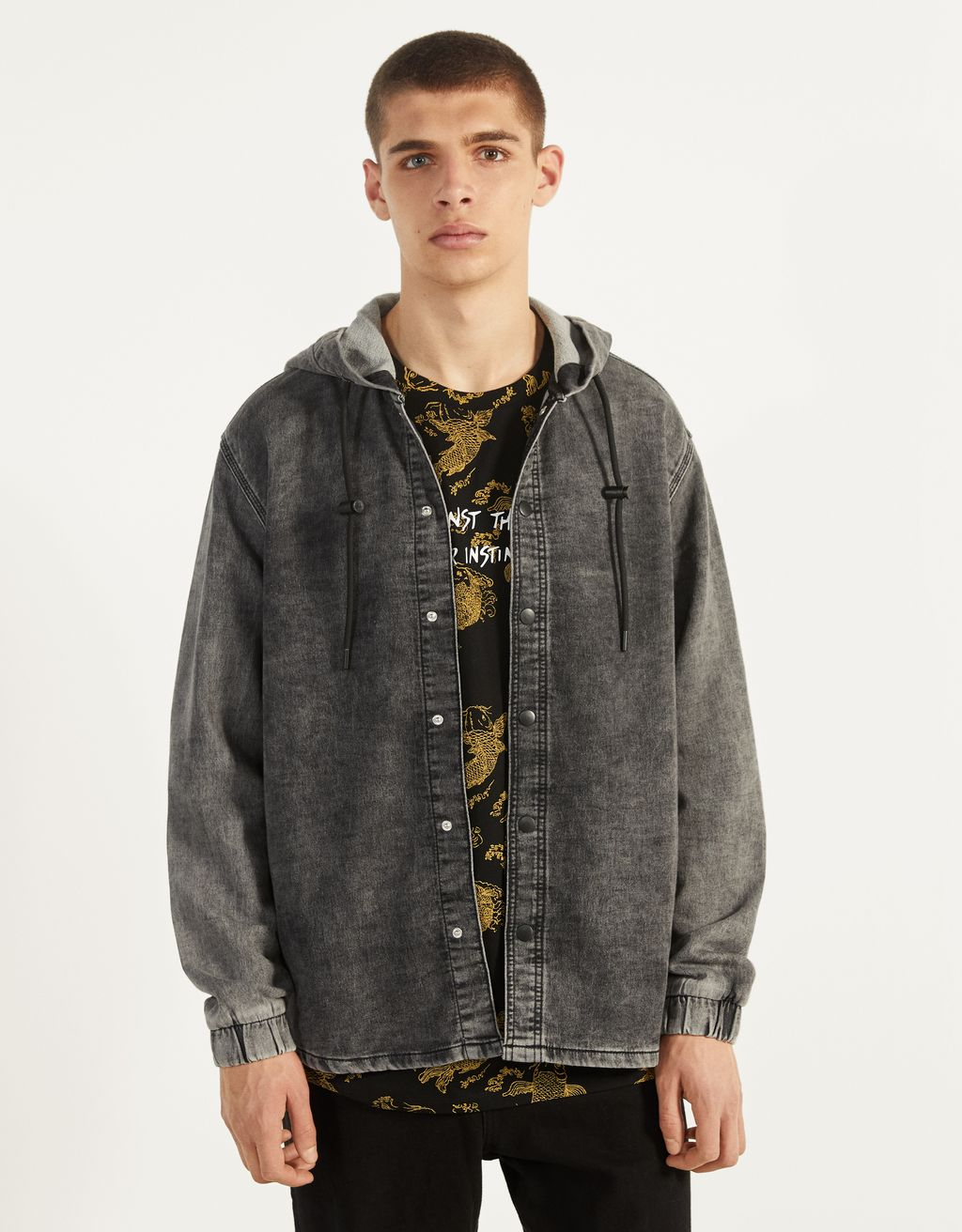 Overshirt cu acid wash