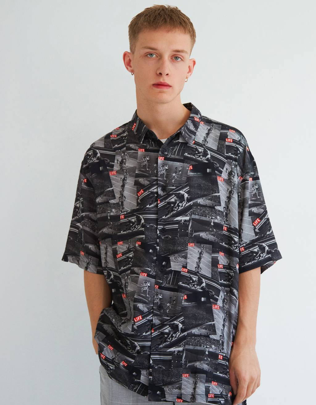 "Shirt with retro sporty ""LIFE"" print"