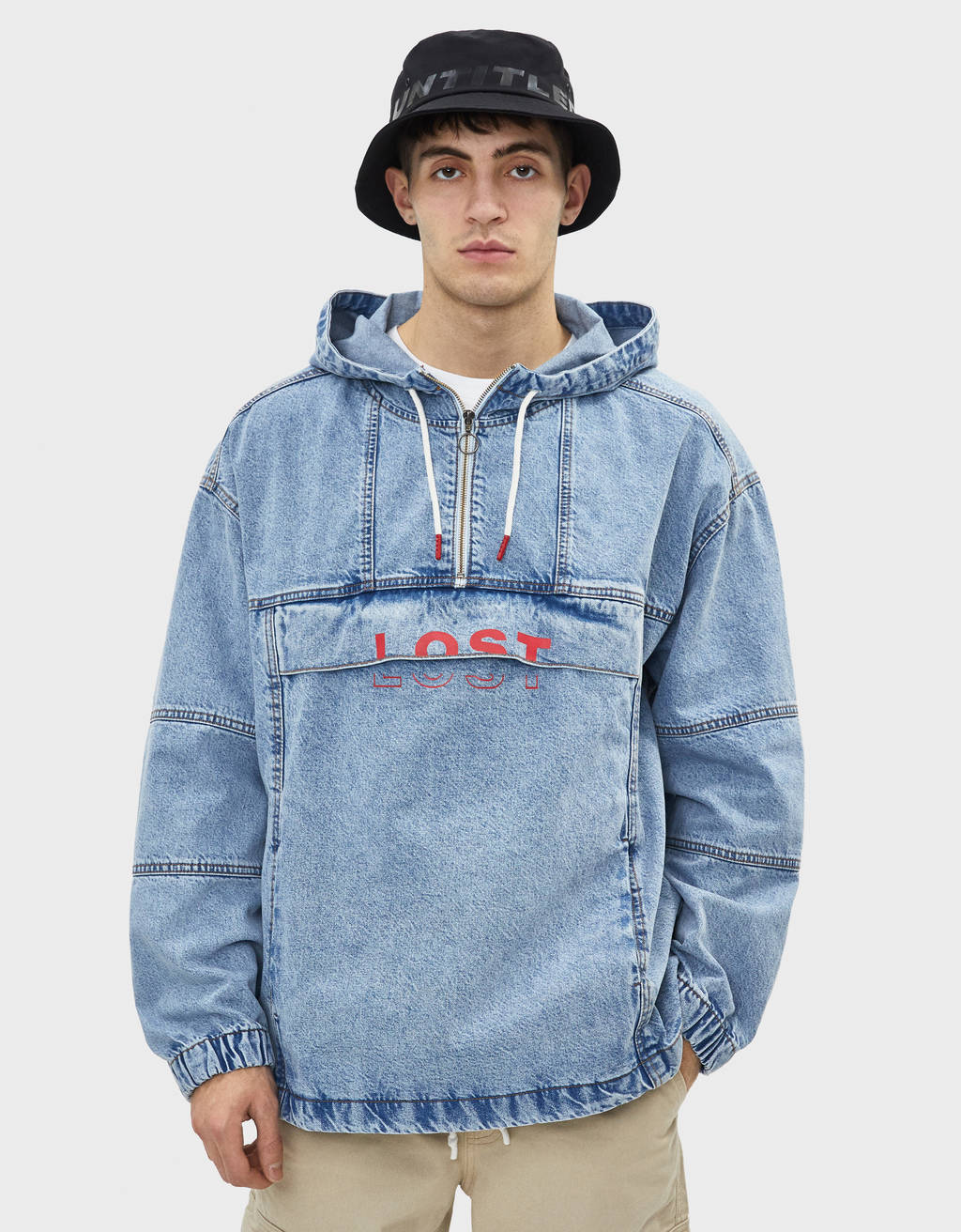 Denim anorak with hood