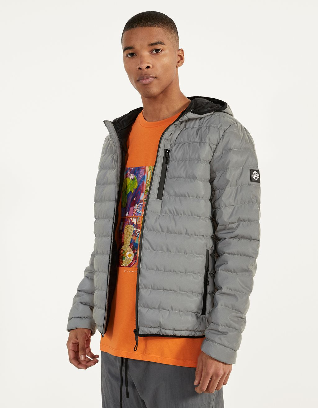 Reflective puffer jacket with hood