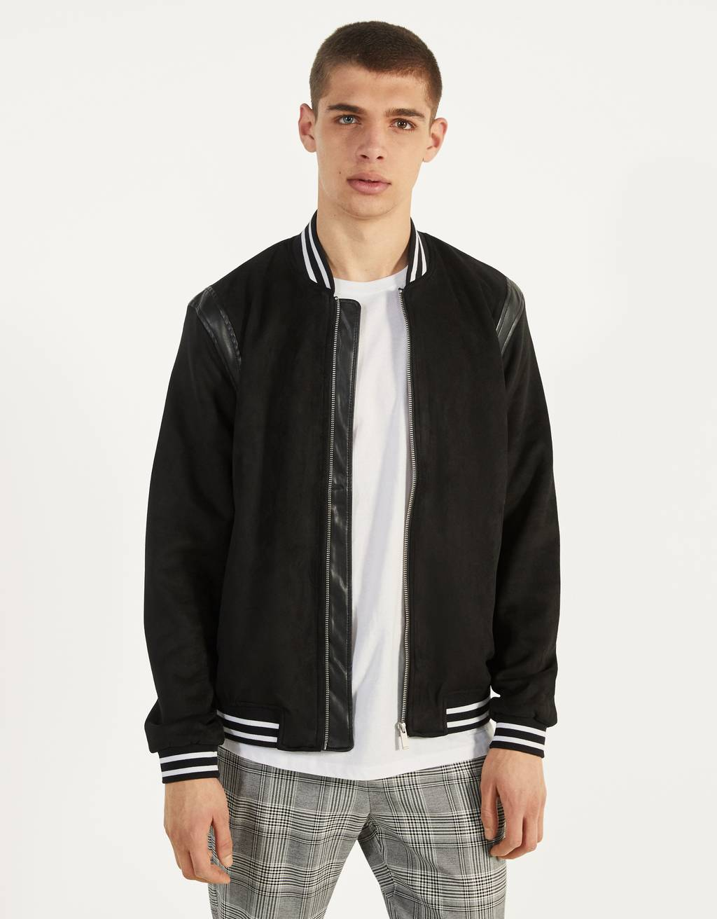Faux suede bomber jacket with shoulder detail