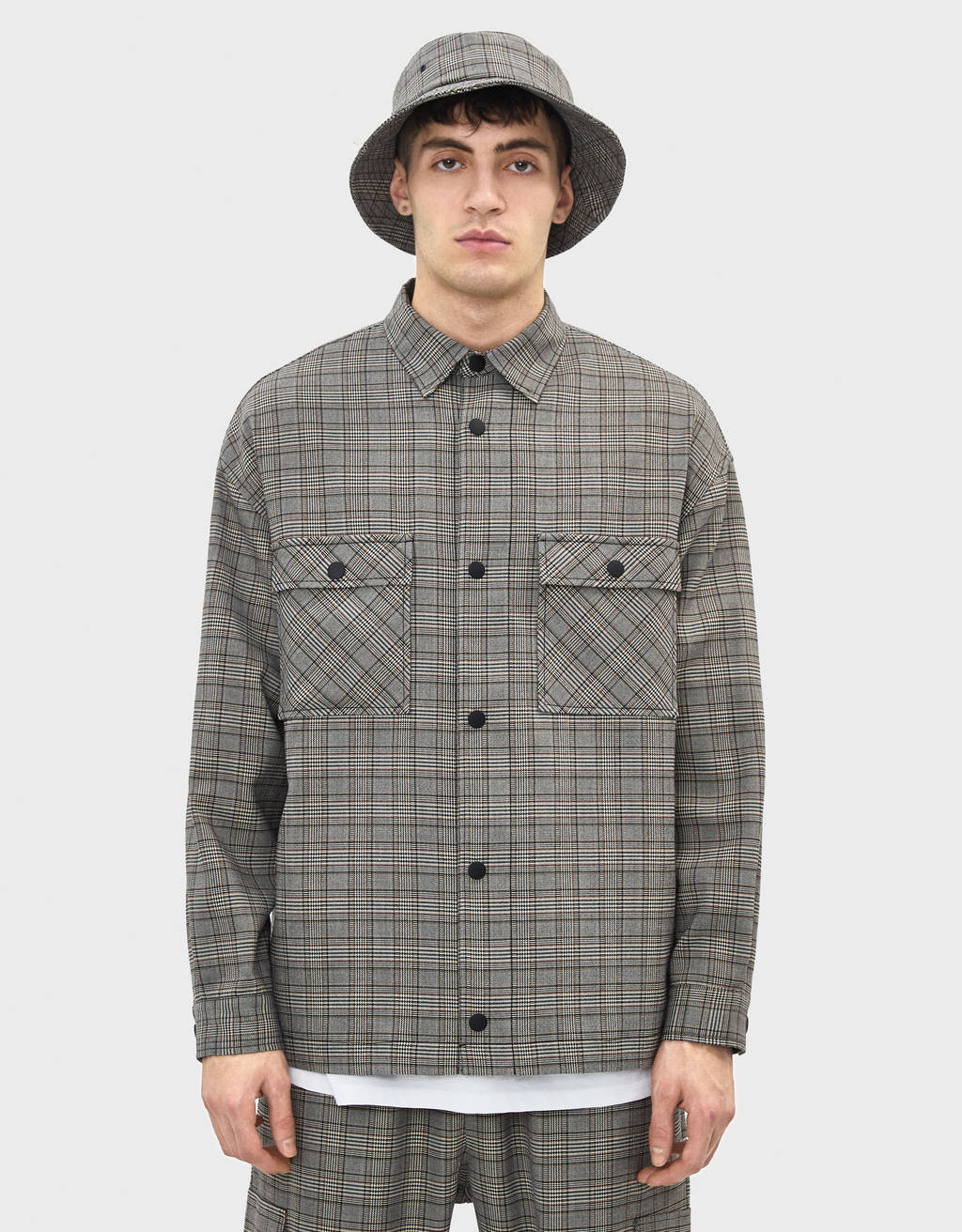 Oversize check print overshirt