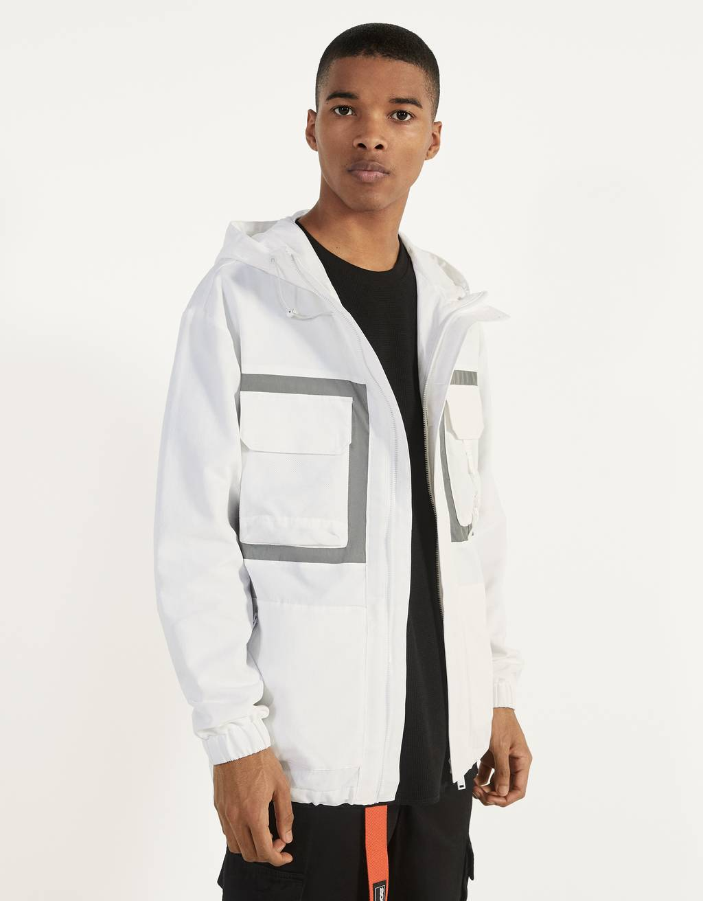 White jacket with reflective detail
