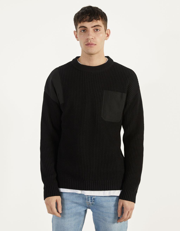 Sweater com pormenores de nylon