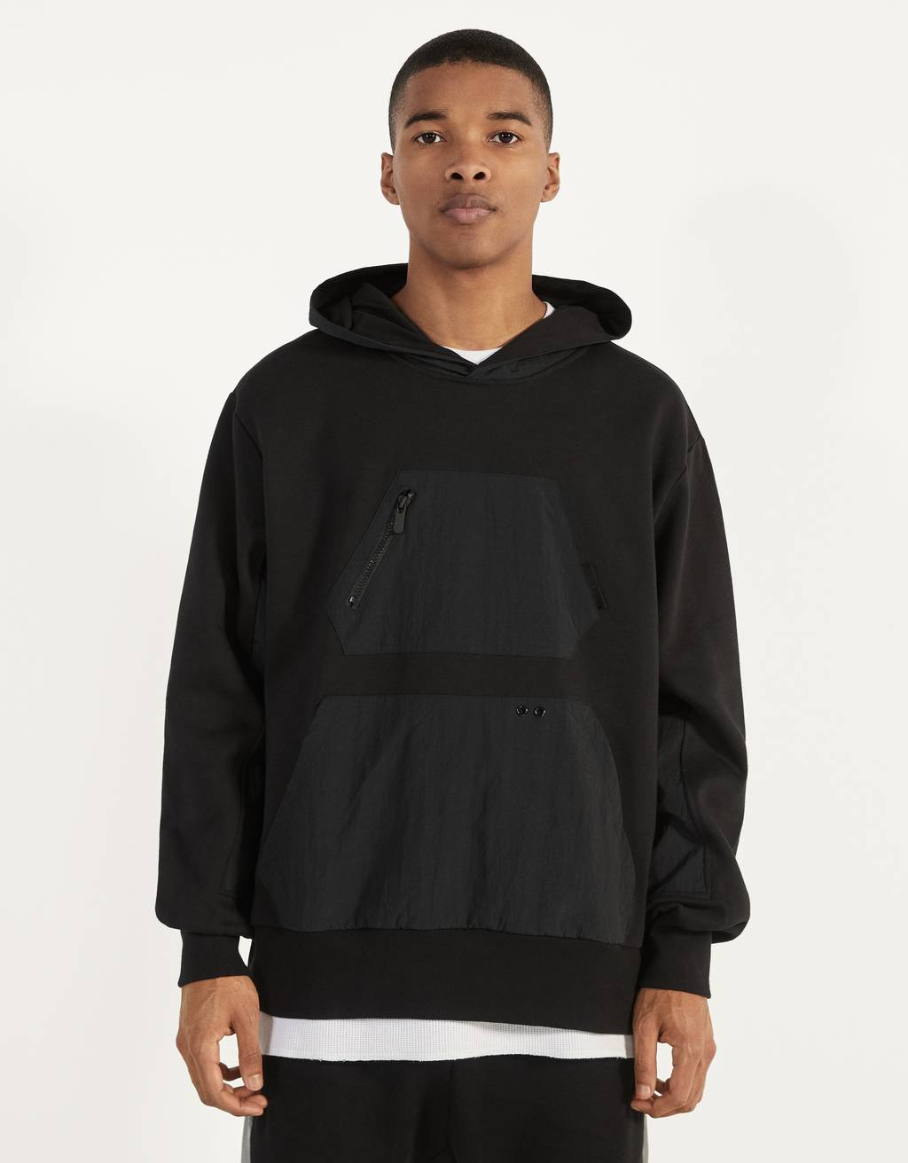Hoodie with nylon details