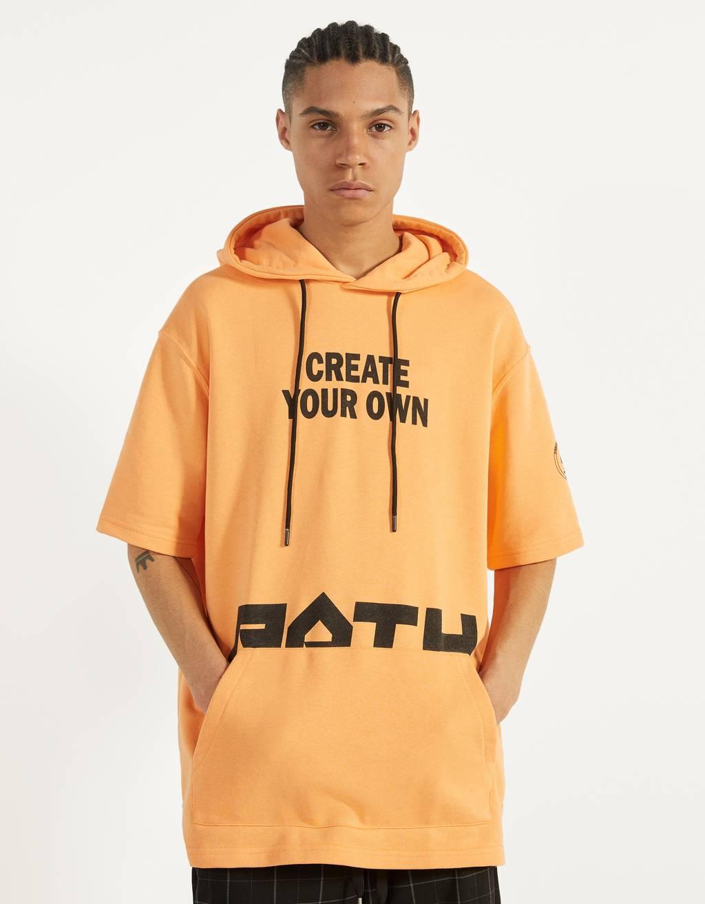 Printed short sleeve hoodie