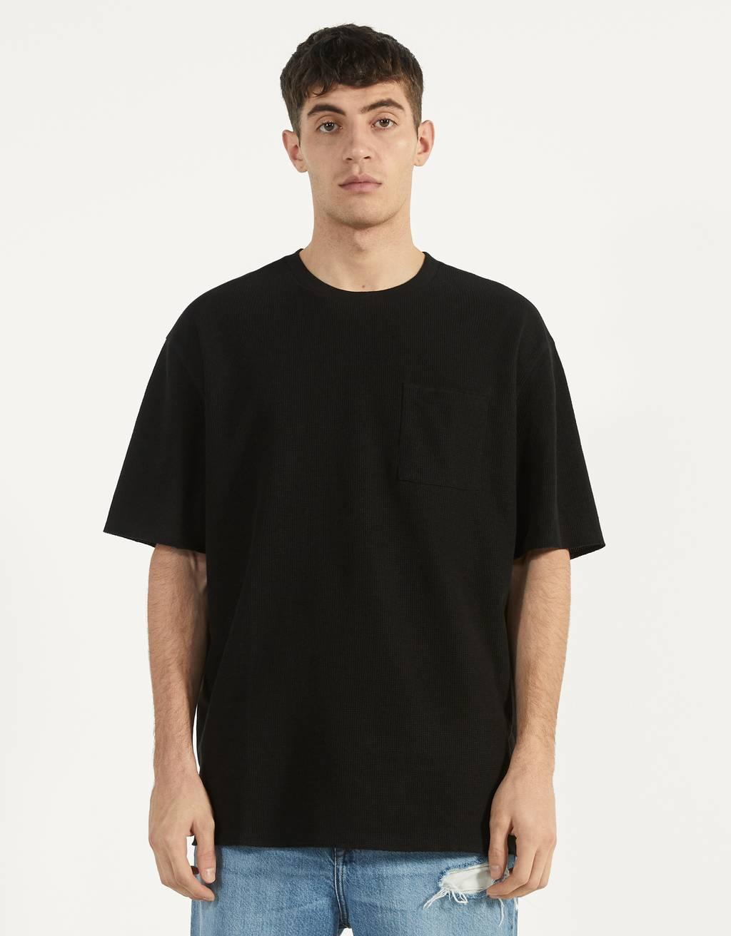 ポケット付きワッフルニットTシャツ