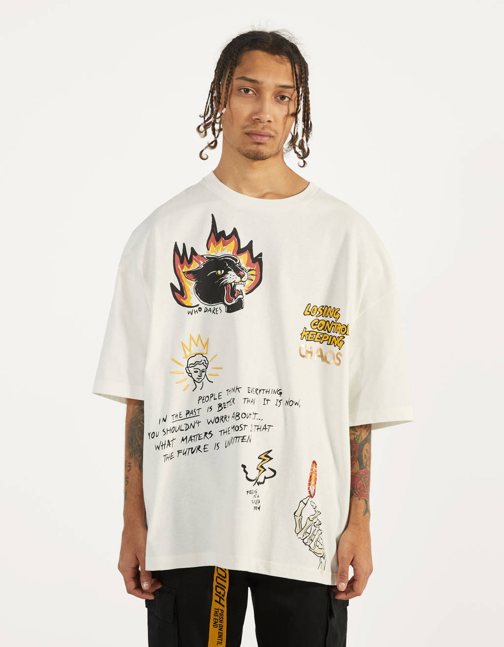 T-shirt with slogan and flame motifs