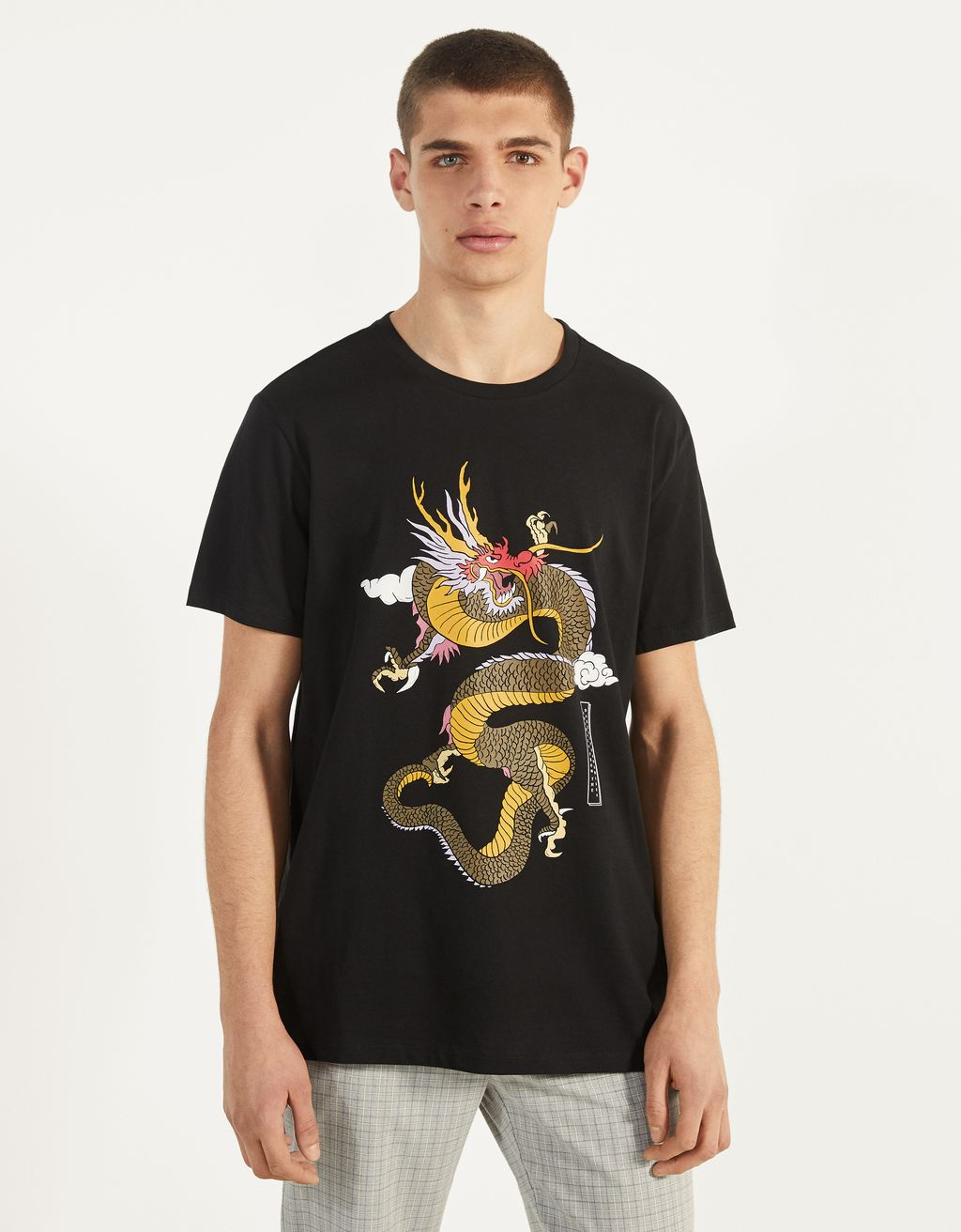 T-shirt à imprimé dragon
