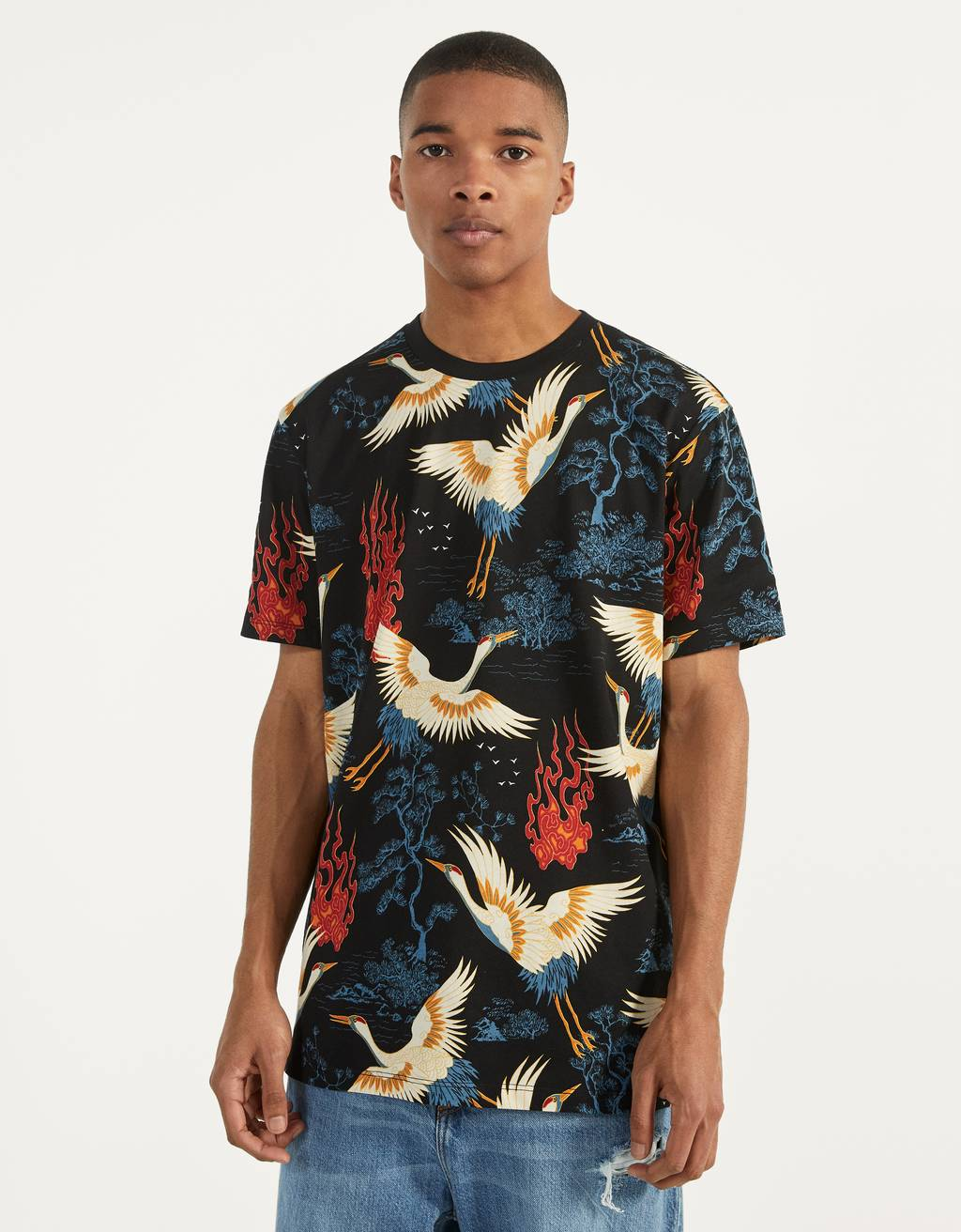Asian-inspired print T-shirt