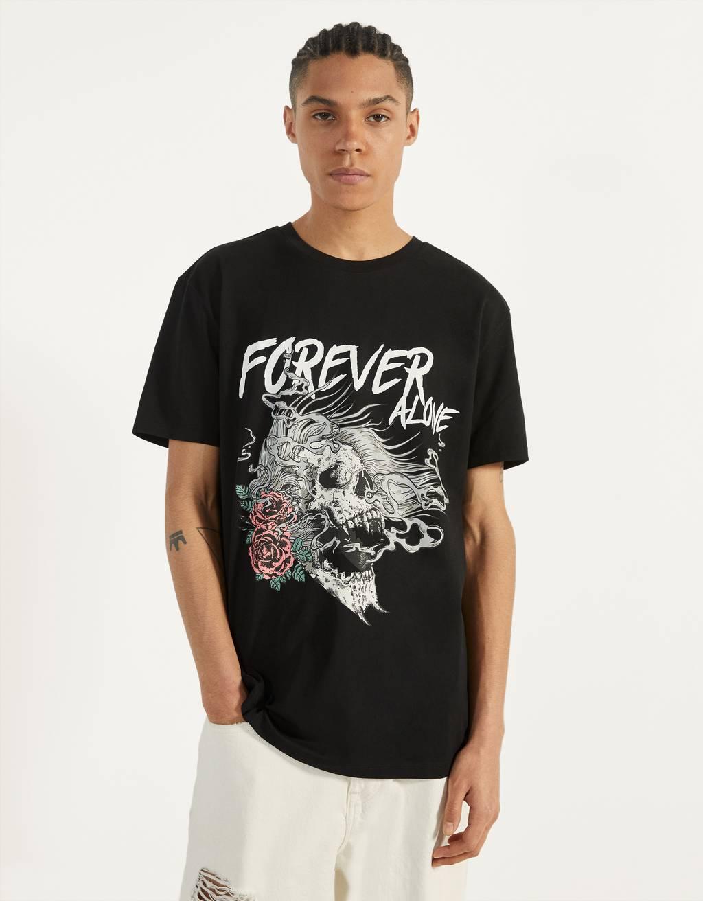 T-shirt met reflecterende schedelprint