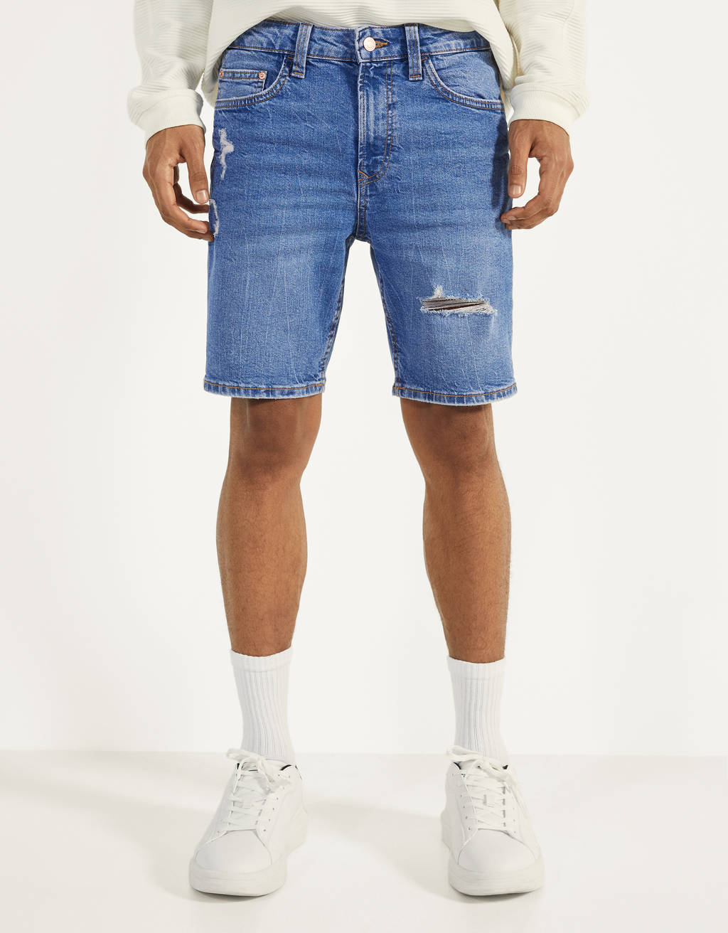 Skinny Fit denim Bermuda shorts