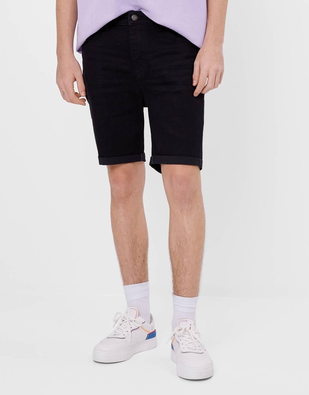 Super skinny fit denim Bermuda shorts