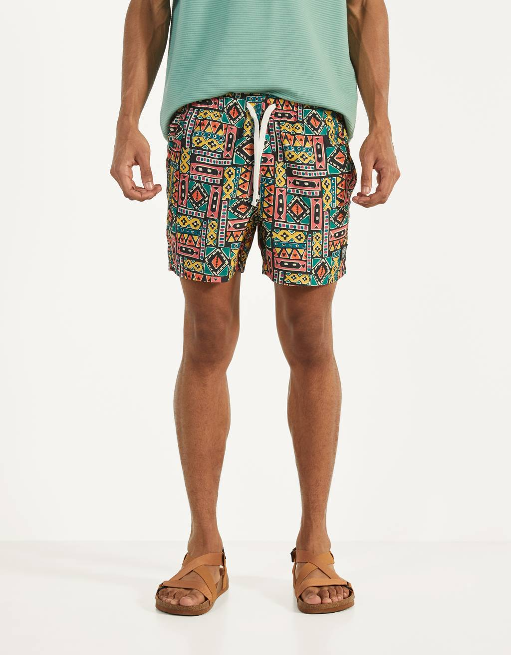 Swimming trunks with a geometric print