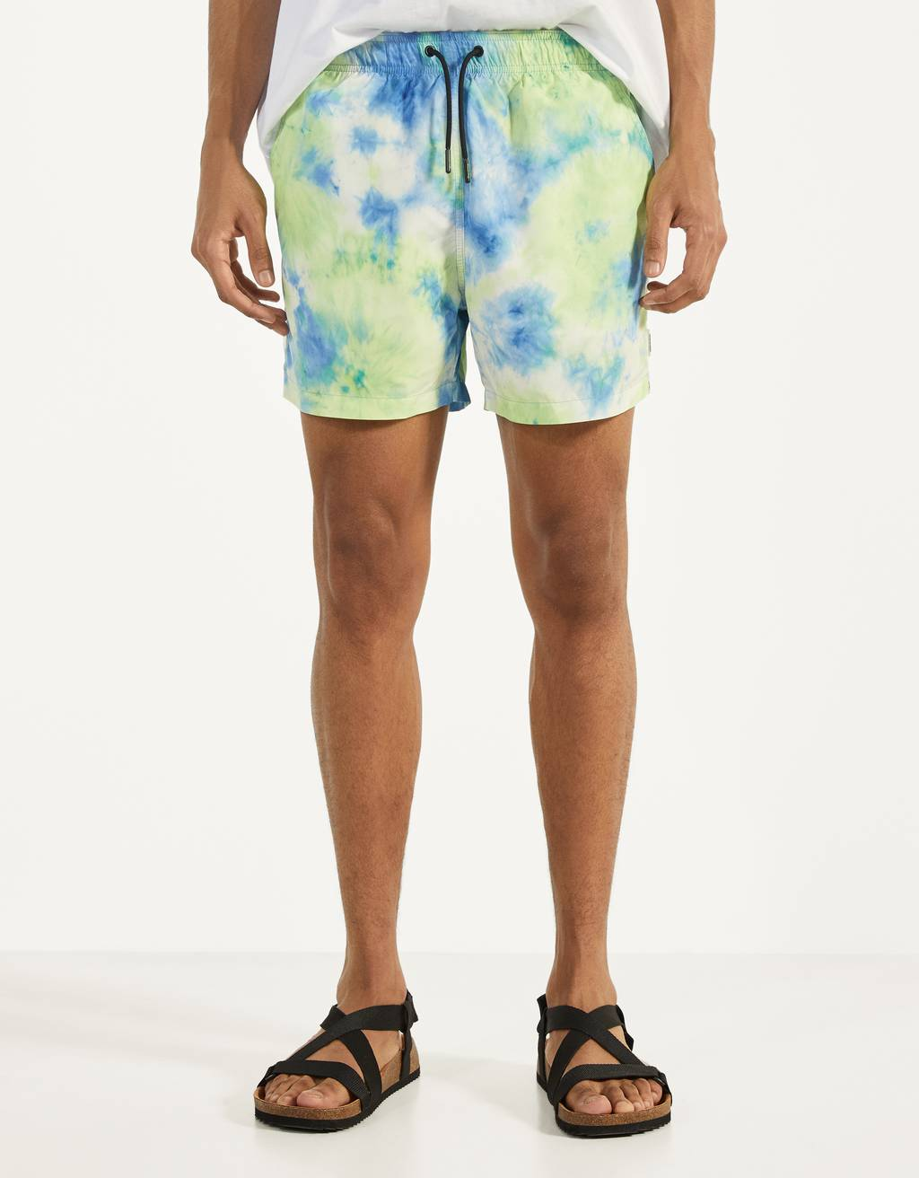 Tie-dye print swimming trunks