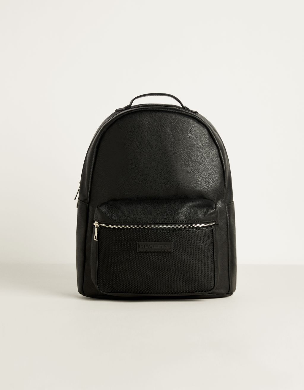 Faux leather backpack with mesh
