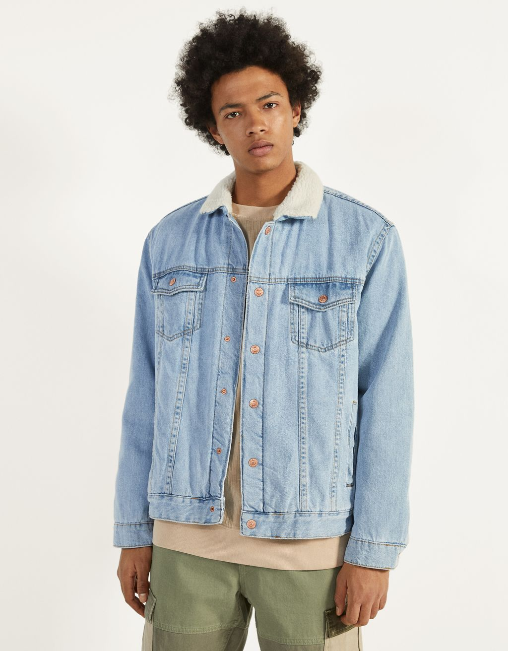 Denim jacket with faux shearling