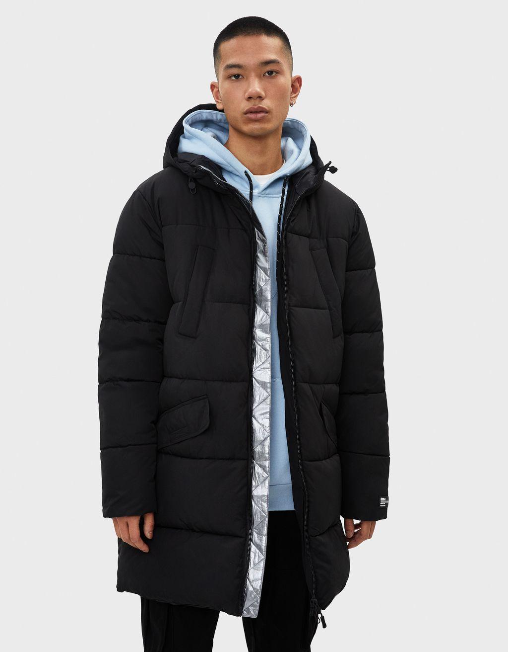 Abrigo puffy largo con capucha