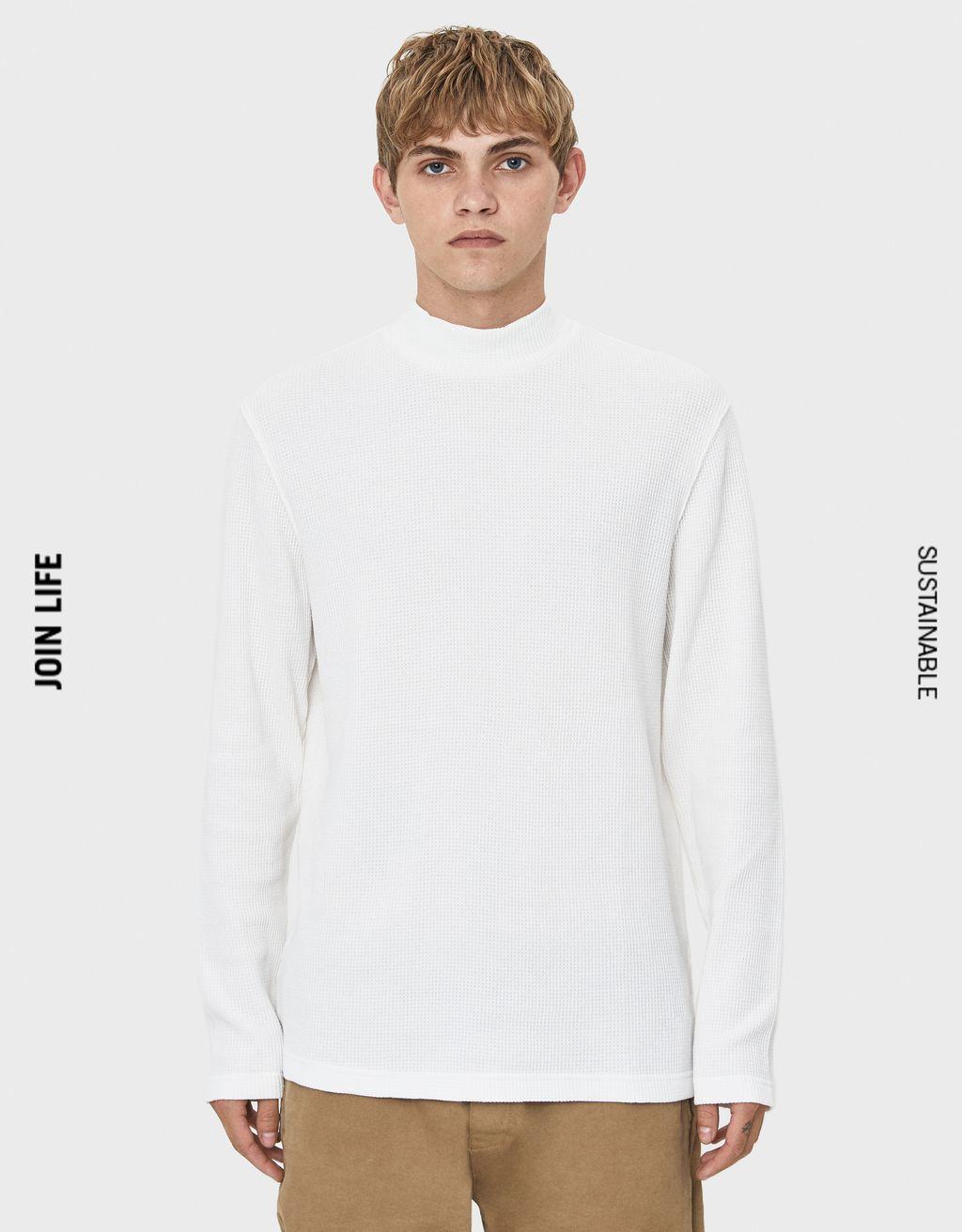 ハイネックワッフルニットセーター