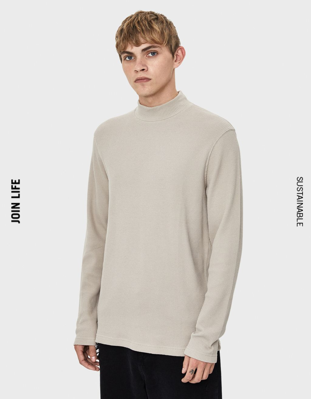 High neck waffle knit sweater