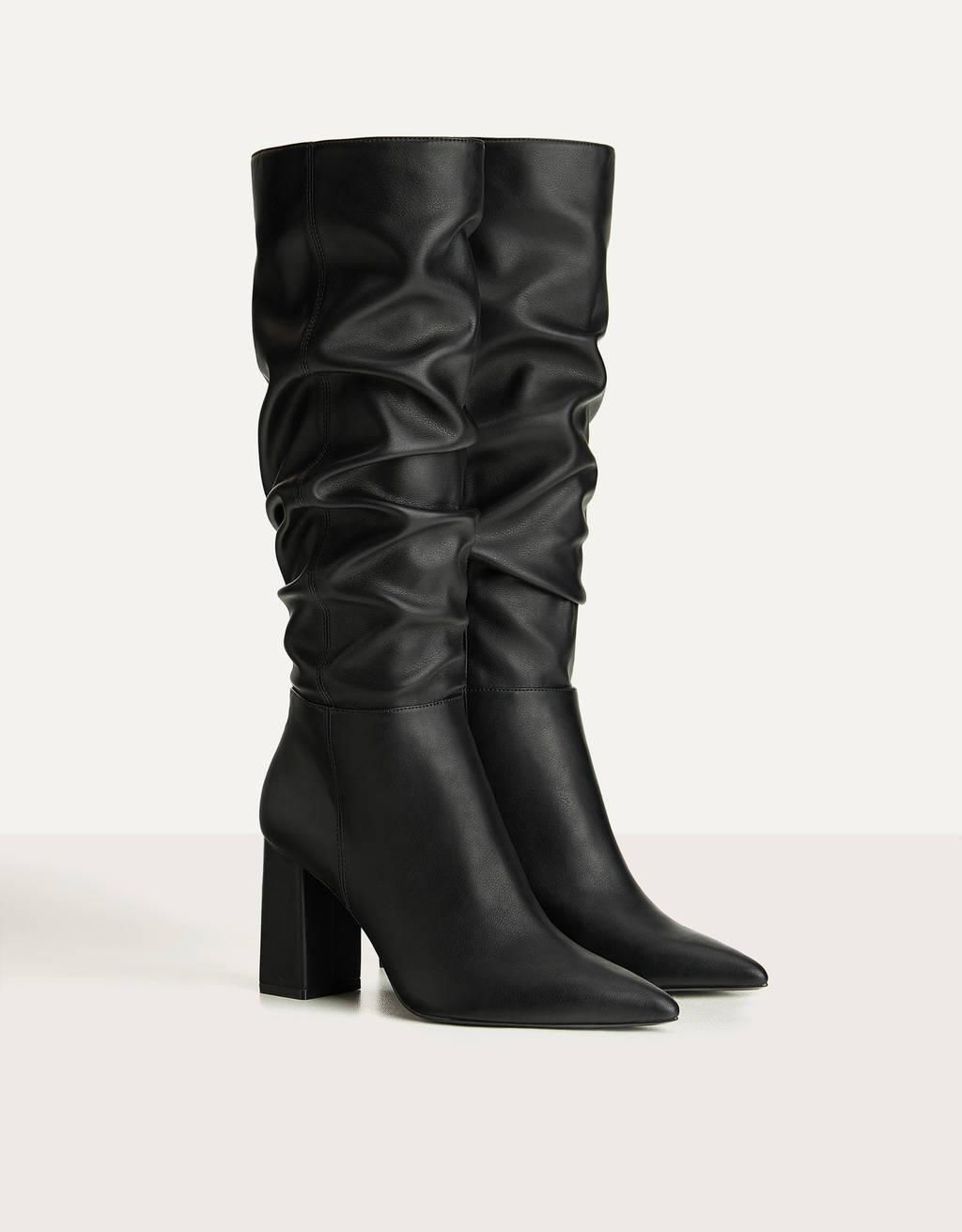 High heel slouched boots