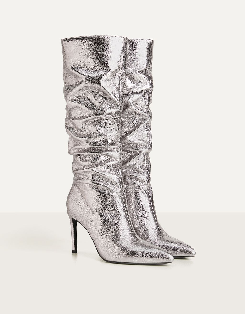 Creased metallic high heel boots