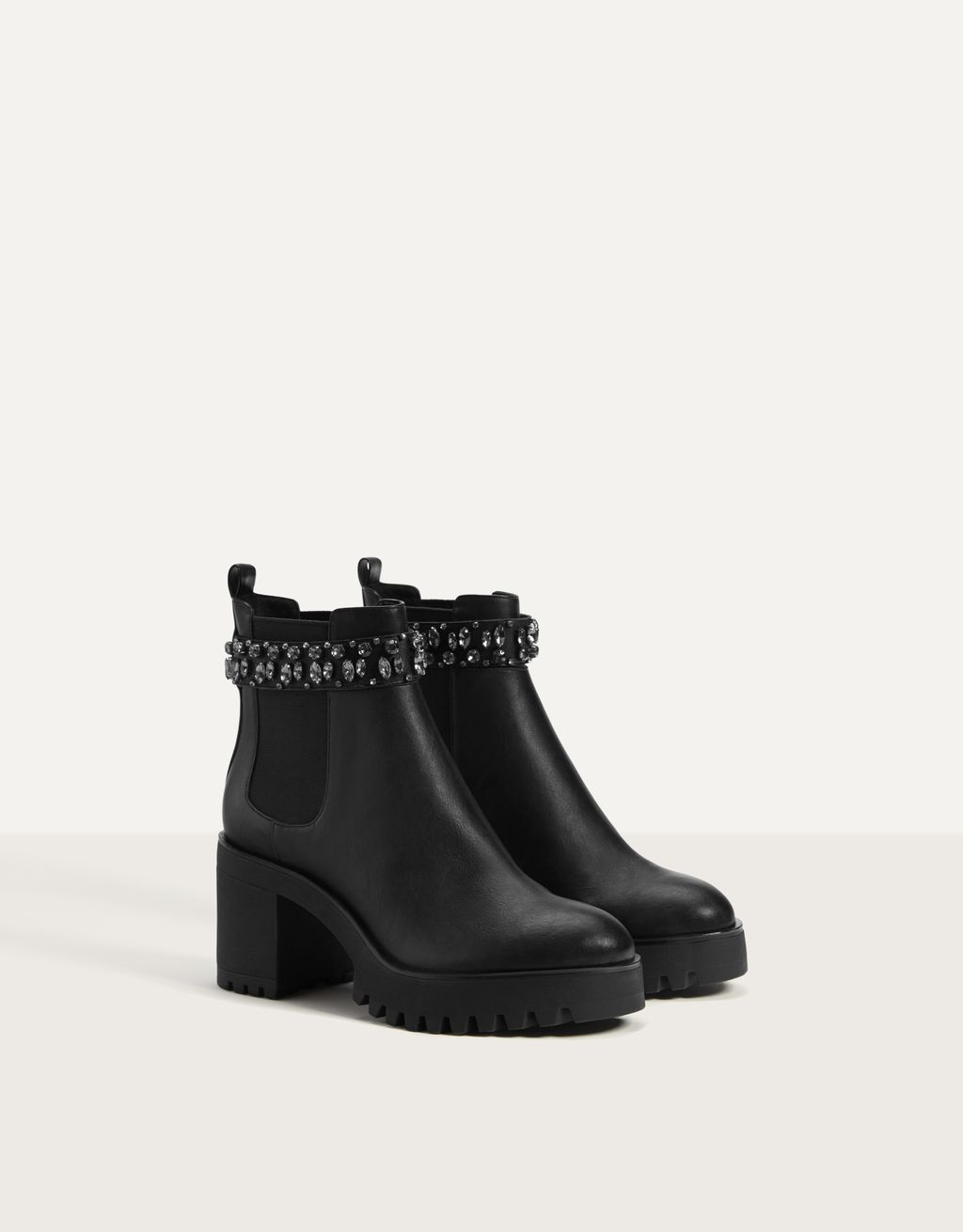 High-heel ankle boots with stretchy side gores and gems