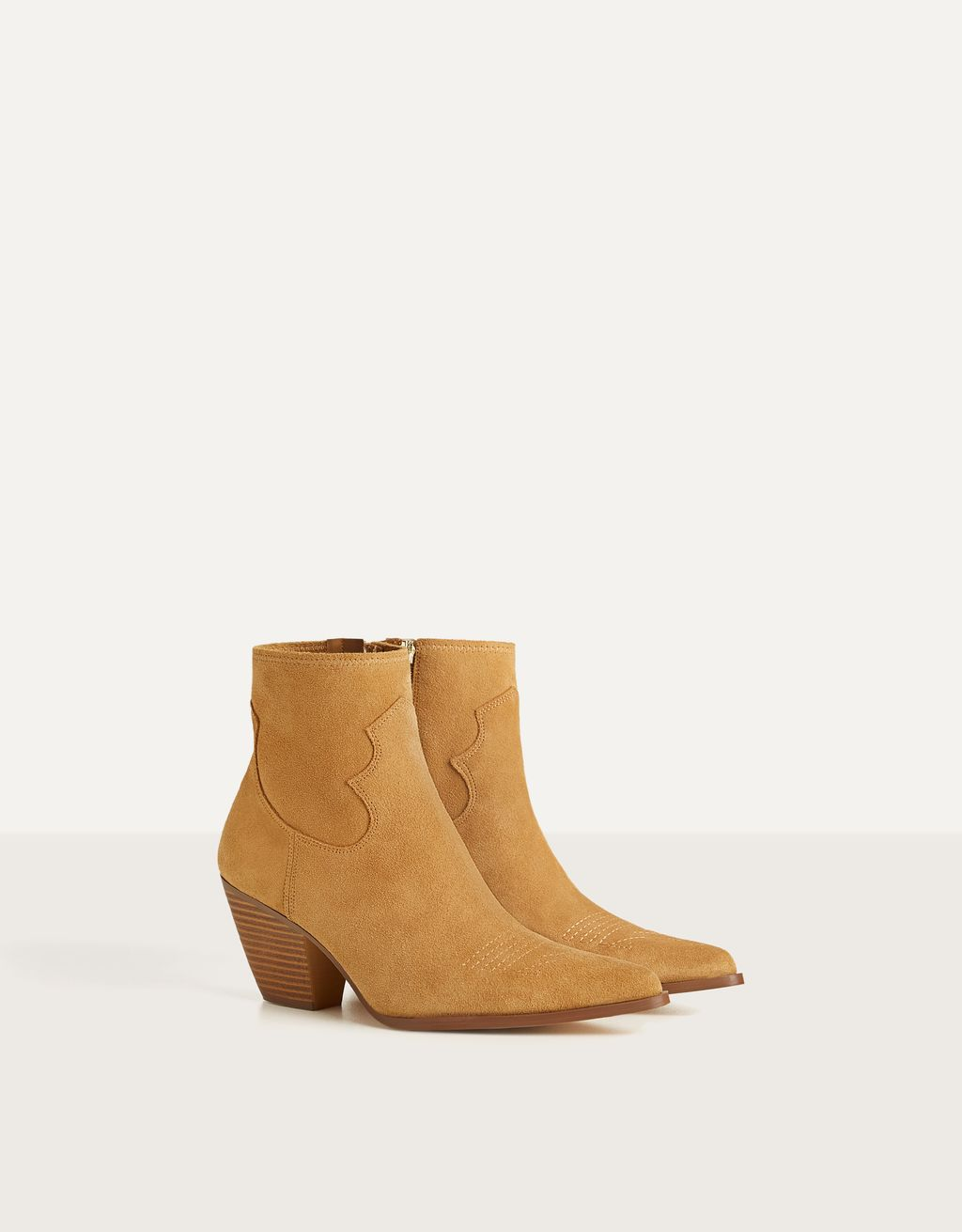 Heeled cowboy LEATHER ankle boots