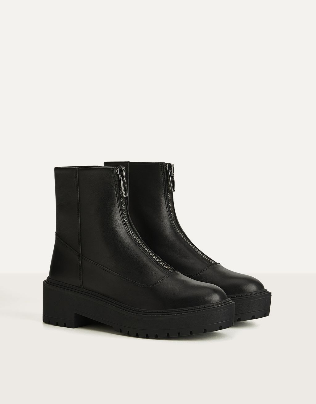LEATHER ankle boots with zippers