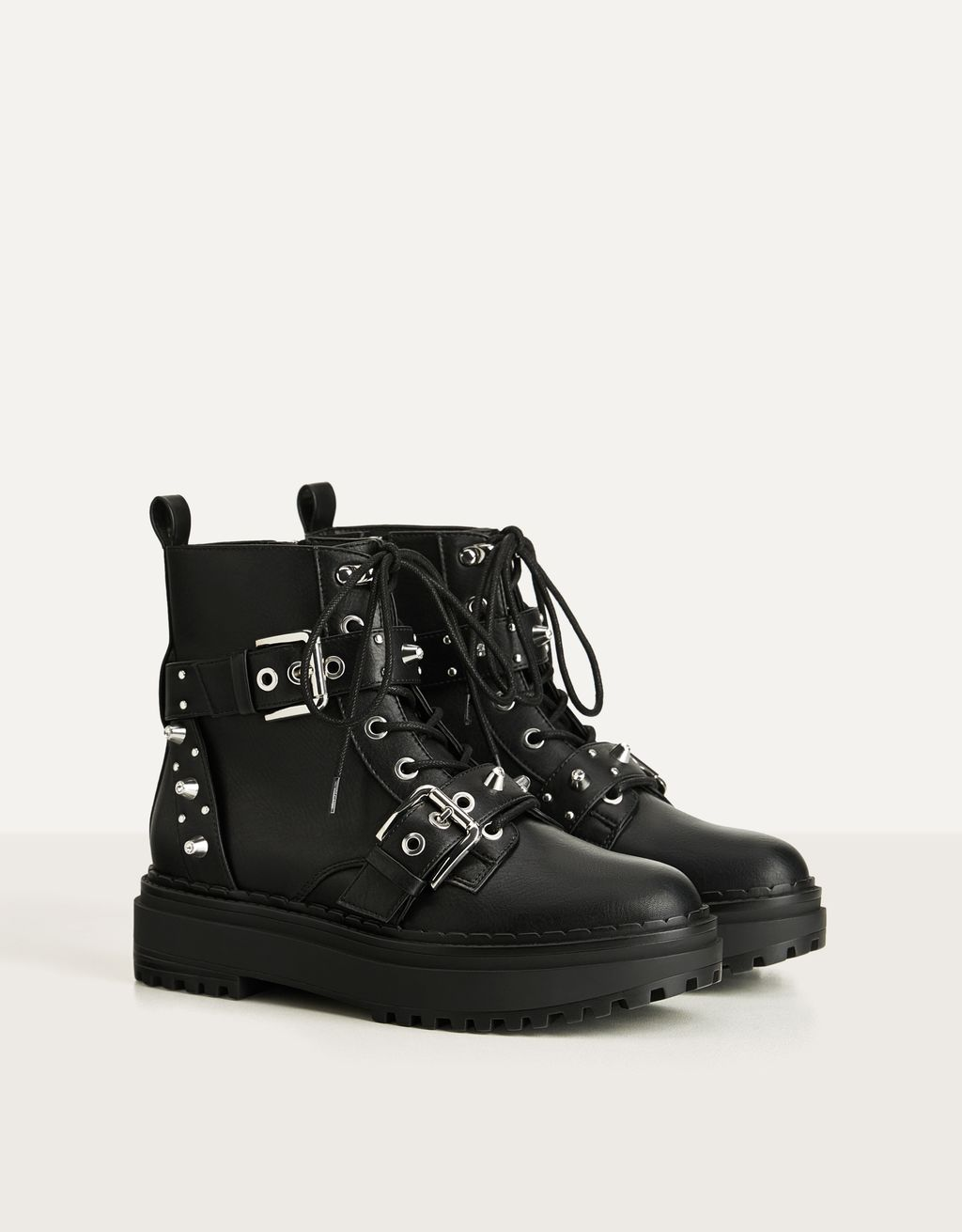 Studded and bejewelled platform ankle boots