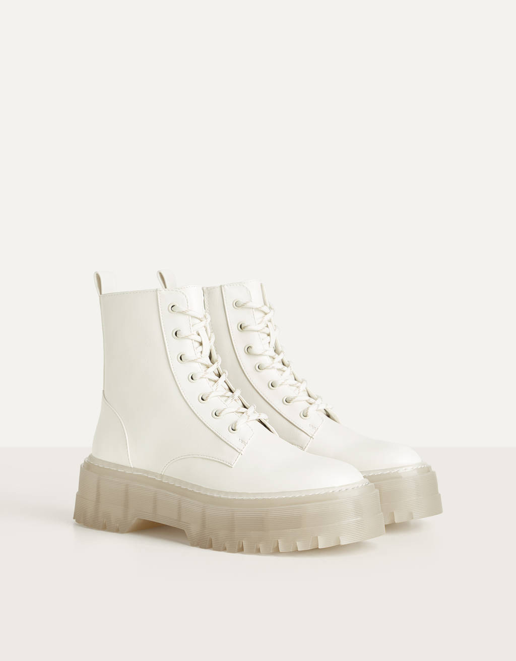 Platform ankle boots with translucent sole