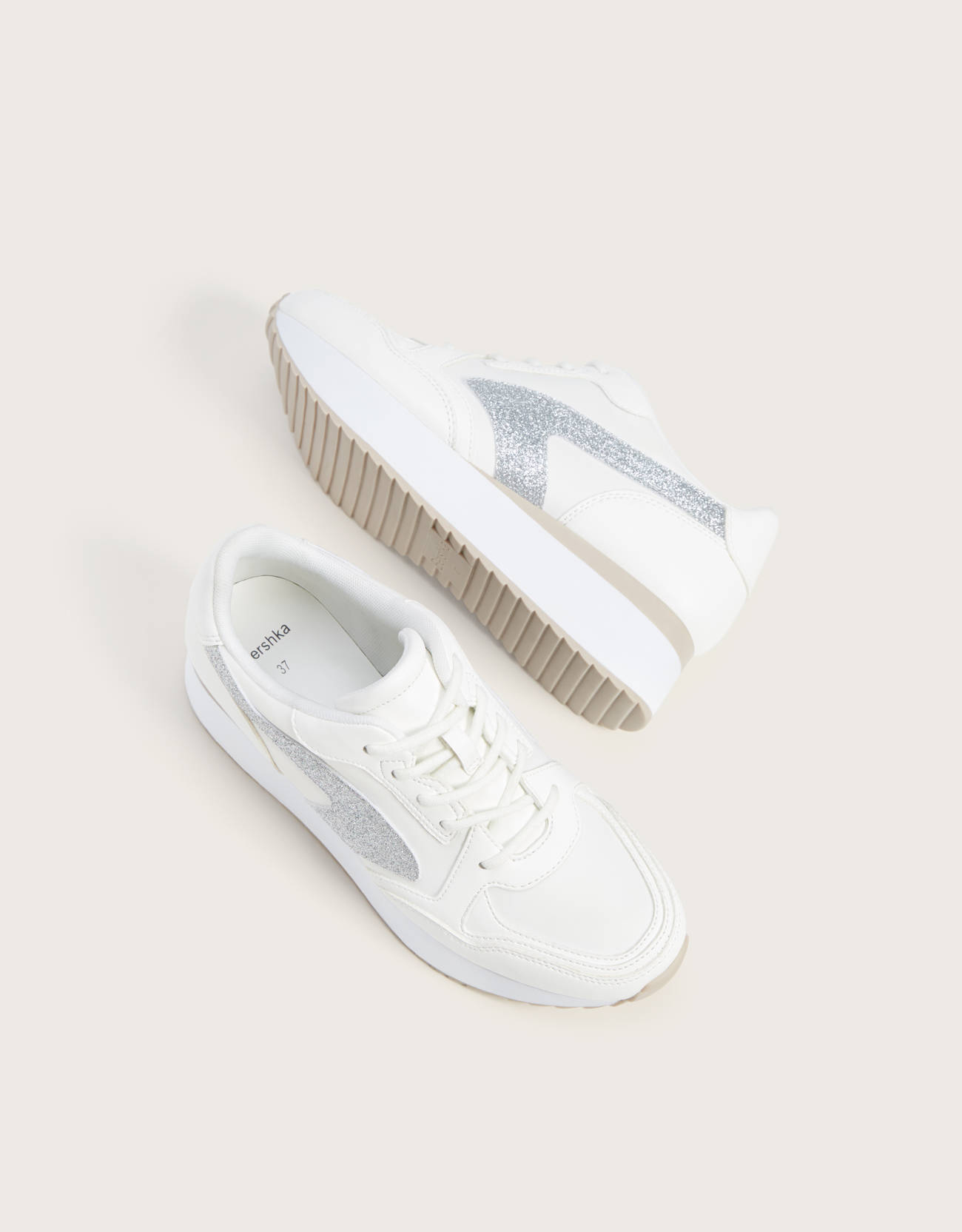 Platform trainers with glitter detail