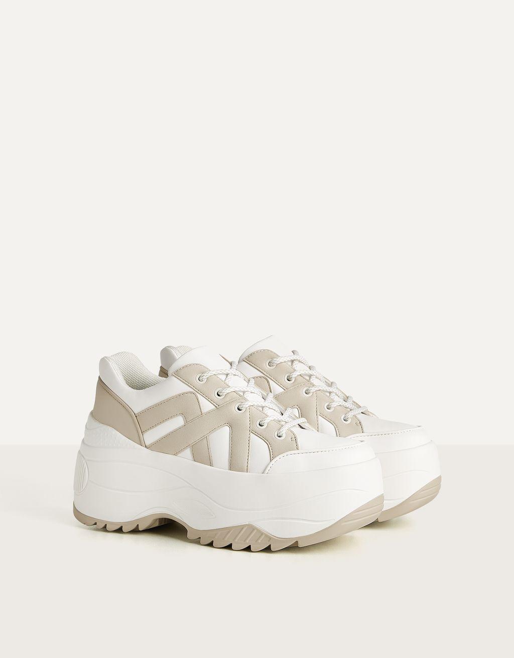 Combi sneakers met XL zool