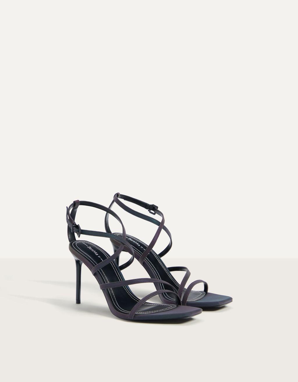 Embossed metallic high-heel sandals
